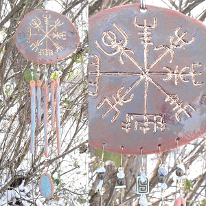 Gold Vegvisir Pottery Wind Chime Turquoise Terra Cotta Viking Decor Icelandic Runic Compass