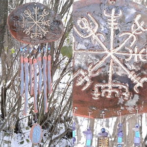 Gold Vegvisir Pottery Wind Chime Green & Turquoise Terra Cotta Viking Decor Icelandic Runic Compass