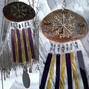 Gold Vegvisir Pottery Wind Chime Terra Cotta Viking Decor Icelandic Runic Compass  .2