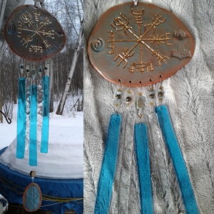 Gold Vegvisir Pottery Wind Chime Turquoise Terra Cotta & Glass Viking Decor Icelandic Runic Compass