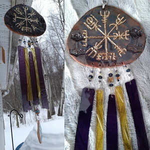 Gold Vegvisir Pottery Wind Chime Terra Cotta Viking Decor Icelandic Runic Compass .3