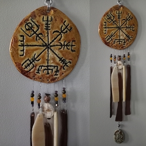 Vegvisir Glass & Clay Wind Chime Ceramic Viking Chimes Icelandic Galdrastafur