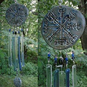 Vegvisir Glass Wind Chime Ceramic Viking Blue Bronze Chimes Icelandic Galdrastafur Norse Pottery
