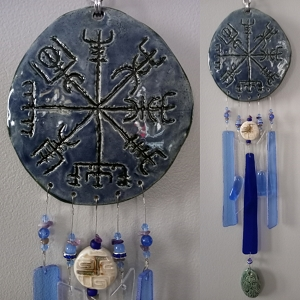 Vegvisir Glass & Clay Wind Chime Ceramic Viking Blue Chimes Icelandic Galdrastafur