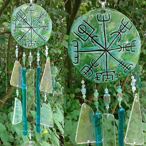 Vegvisir Glass Wind Chime Turquoise Green Ceramic Viking Chimes Galdrastafur