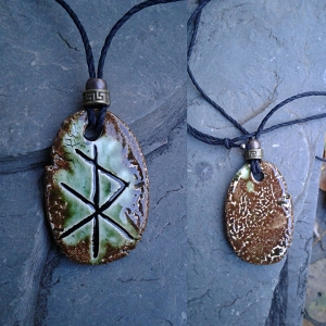 Viking Rune Necklace Moss Green Ceramic Norse Runestone Amulet Futhark