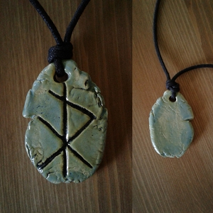 Viking Rune Necklace Sea Green Ceramic Norse Runestone Amulet Futhark