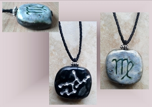 Virgo Zodiac Star Constellation Necklace Sun Sign Ceramic Pendant Astrology Virgin Pottery Amulet