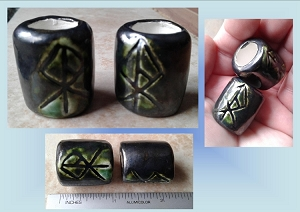 Set 2 Viking Warrior Rune Macrame Beads Large Hole Pewter Green Ceramic Elder Futhark Norse Viking Beads Dreads