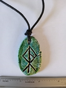 Viking Warrior Necklace Norse Runestone Warrior Amulet Green Ceramic Pendant
