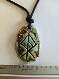 Viking Warrior Necklace Norse Runestone Warrior Amulet Ceramic Pendant