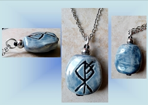 Blue Wolf Rune Necklace Norse Runestone Ceramic Pendant Viking Amulet Clay Pottery