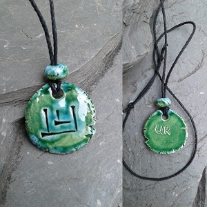 Cuneiform WOLF Necklace Sumerian Dog Pendant Turquoise Green Ceramic UR Amulet