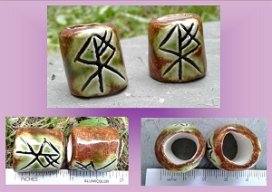 Set 2 Wolf Rune Macrame Beads Large Hole Green Moss Ceramic Elder Futhark Norse Viking Beads Dreads