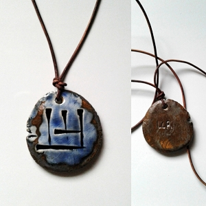 Cuneiform WOLF Necklace Sumerian Dog Pendant Blue Bronze Ceramic UR Amulet