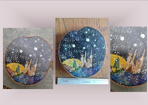 Pleiades Star Mini Wood Painting Watercolor Winter Skies Galaxy Constellation