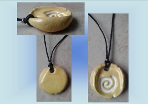 Sacred Spiral Ceramic Aromatherapy Necklace Yellow Essential Oil Diffuser Pendant Clay Amulet