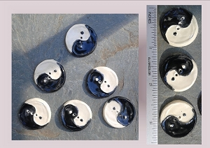 6 Ceramic Buttons, Yin Yang Pottery Buttons, Black White Notions, Ceramic Stone Buttons, Handmade Clay Buttons