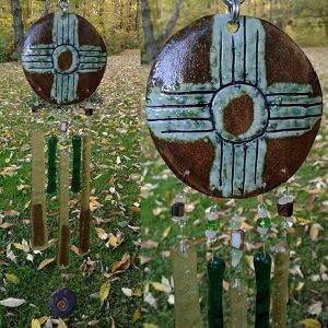 Zia Sun Glass Wind Chime Pottery Chimes Moss Green Hopi Sun Catcher New Mexico Art