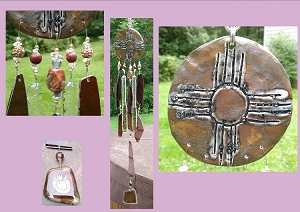 Zia Sun Glass Wind Chime Ceramic Windchime Blue Bronze Hopi Native American Stone Petroglyph