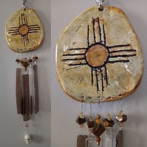Zia Sun Glass & Clay Wind Chime Hopi New Mexico Pottery Mobile
