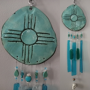 Zia Sun Glass & Clay Wind Chime Hopi New Mexico Turquoise Pottery Mobile