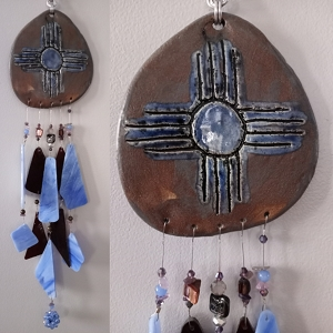 Zia Sun Glass & Clay Wind Chime Blue Bronze Hopi New Mexico Pottery Mobile
