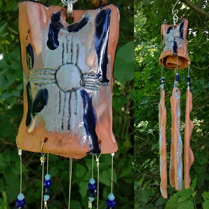 Zia Sun Terra Cotta Wind Chime Pottery Chimes Turquoise Hopi New Mexico Garden Decor