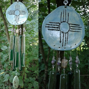 Zia Sun Glass Wind Chime Sea Green Hopi New Mexico Pottery Mobile Garden Decor