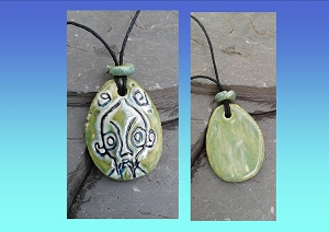 Tiki Necklace Polynesian Pendant Green Ceramic Amulet South Pacific Maori Marquesas Hawaiian Rapa Nui