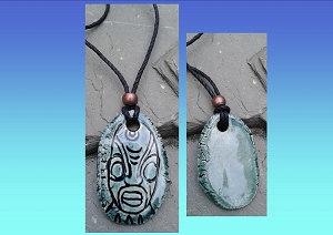 Tiki Necklace Polynesian Pendant Teal Ceramic Amulet South Pacific Maori Marquesas Hawaiian Rapa Nui