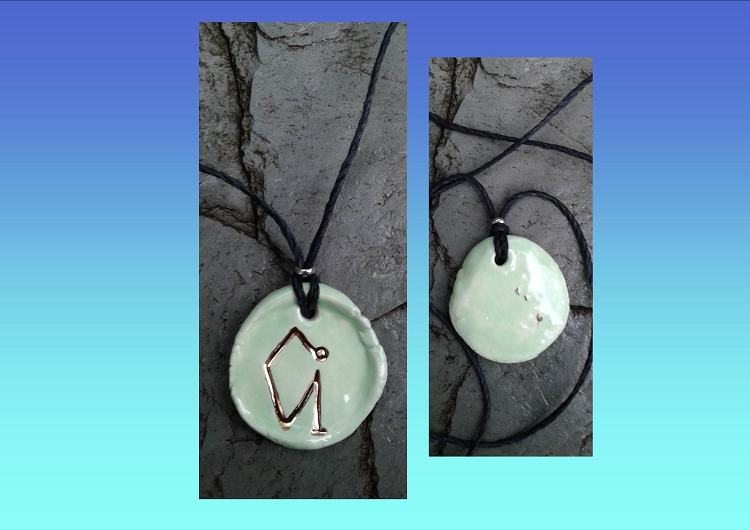 Archangel Uriel Necklace Green Gold Lustre Angel Sigil Ceramic Pendant  Diven Protection