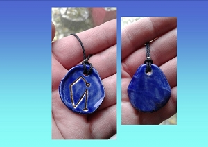 Archangel Uriel Necklace Cobalt Blue Gold Lustre Angel Sigil Ceramic Pendant Diven Protection