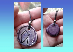Archangel Uriel Necklace Purple Angel Pendant Sacred Sigil Ceramic Angel Amulet