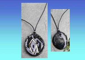 Archangel Uriel Necklace Black Gold Lustre Angel Sigil Ceramic Pendant Diven Protection