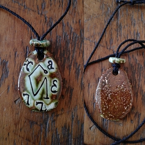 Archangel Uriel Necklace Ceramic Green Moss Angel Pendant Sigil Enochian Amulet