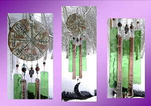 Vegvisir Glass Wind Chime Green Bronze Ceramic Viking Chimes Galdrastafur