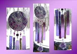 Vegvisir Glass Wind Chime Purple Mauve Ceramic Viking Chimes Galdrastafur