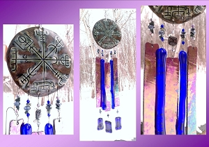 Vegvisir Glass Wind Chime Bronze Blue Ceramic Viking Chimes Galdrastafur