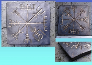 Vegvisir Tile Icelandic Compass with Gold Galdrastafur Iron Grey Ceramic Decorative Tile