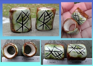 Set 2 Wolf Rune Macrame Beads Large Hole Green Moss Ceramic Norse Viking Dread Beads