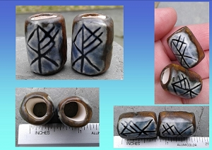 Set 2 Wolf Rune Macrame Beads Blue Bronze Ceramic Elder Futhark Norse Viking Dread Beads