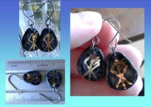 Wolf Rune Earrings Black & Gold Lustre Porcelain Viking Rustic Dangle