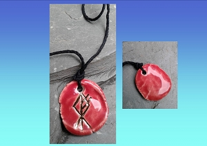 Wolf Rune Necklace Red & Gold Lustre Ceramic Viking Pendant