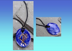Wolf Rune Necklace Blue & Genuine Gold Ceramic Viking Pendant Norse Runestone Amulet