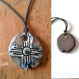 Zia Sun Necklace Blue Bronze Ceramic Pendant Native American Solar Symbol Amulet
