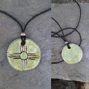 Zia Sun Necklace Sea Green Ceramic Pendant Native American Solar Symbol Amulet