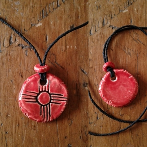 Zia Sun Necklace Red Ceramic Pendant Native American Solar Symbol Amulet