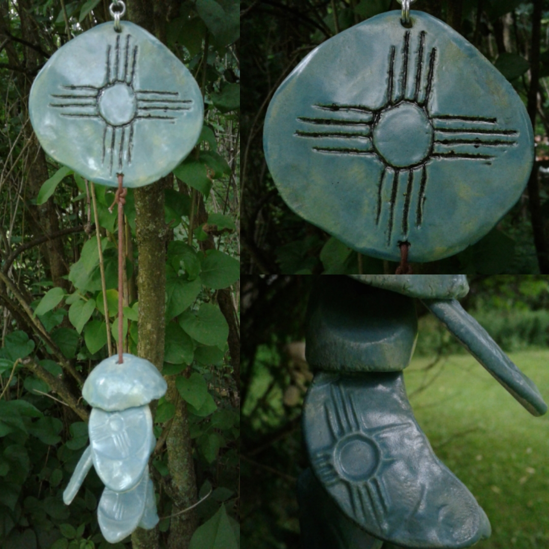 Zia Sun Clay Wind Chime Sea Green Hopi New Mexico Pottery Mobile Garden Decor