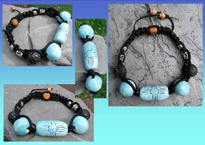 Zia Sun Bracelet Turquoise Ceramic with Lava Stones Native American Petroglyph Adjustable .2